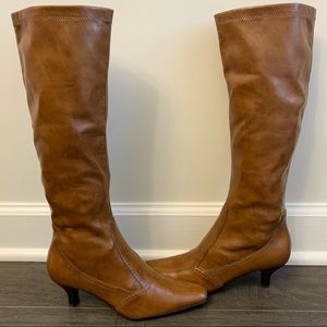 💙 Franco Sarto Faux Leather Cognac Boots - Size 6
